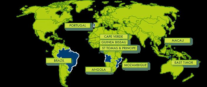 Wereldmap Portugese taal